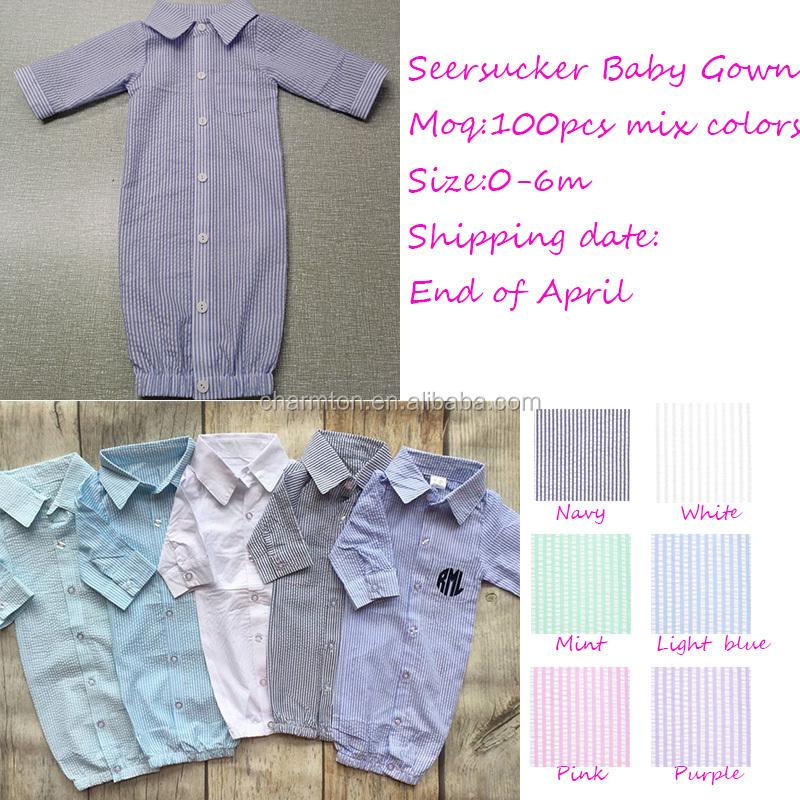 Wholesale Summer Long Fancy Monogram Seersucker Baby Gown - Buy ...