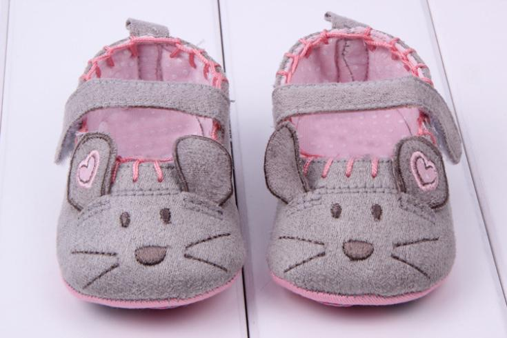 Cute Baby Girls First walkers Cotton Grey Cartoon Mouse Soft with Pattern Shading Soft Sole Baby Toldder Prewalkers Shoe 3 size
