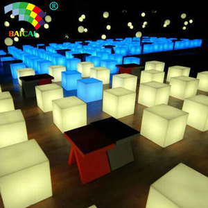 BCR-119C PE light up party furniture led cube chair 80cm