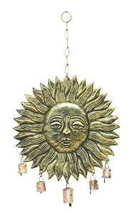 Benzara Garden Wind Chimes, Metal Sunface, 21 by 12-Inch by Benzara Woodland Imports -- DROPSHIP