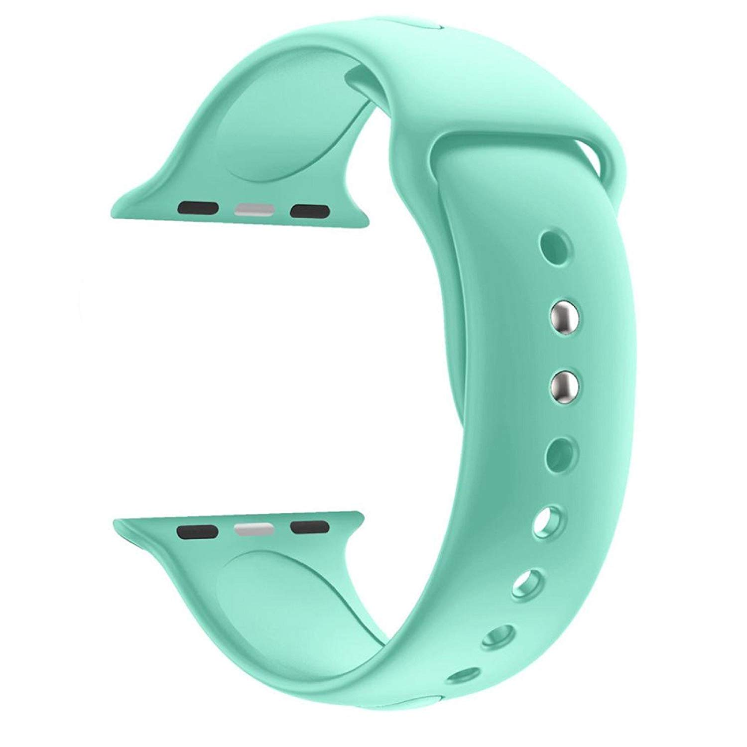 Owill Fashion Sports Soft Silicone Replacement Sports Band Wrist Strap For Apple Watch Series 3 38MM, Wrist Circumference: 140MM-185MM (Mint Green)