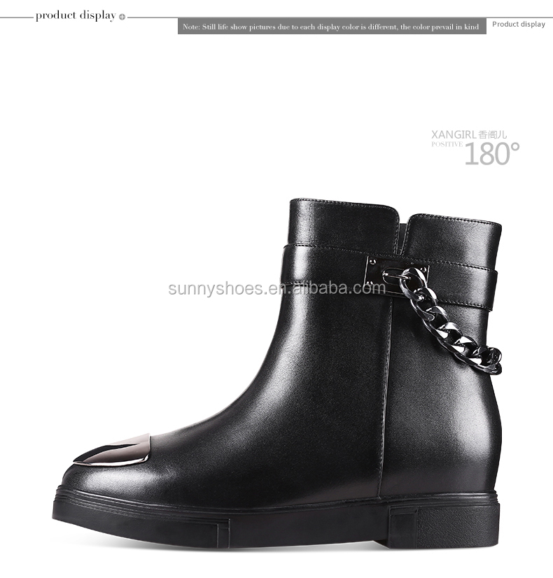 Lastest women ladies ankle boots metallic buckle genuine leather fur shoes