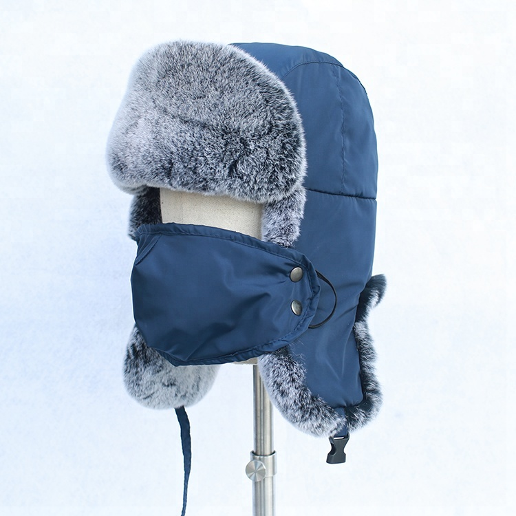 44327724019 2018 new type rex rabbit fur hat russian winter ear cuff hat with mouth -muffle