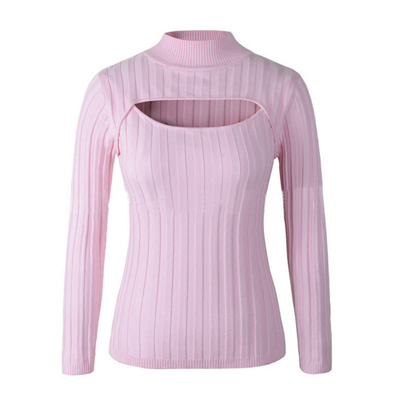 Open Chest Sweater 2015 Women Turtleneck Knitted Oversized Keyhole Kawaii Sweaters Korean Cute Pink Pullovers Cheap Clothing