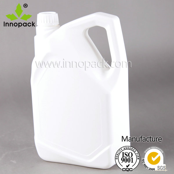 4L white HDPE plastic oil container with cap and gasket