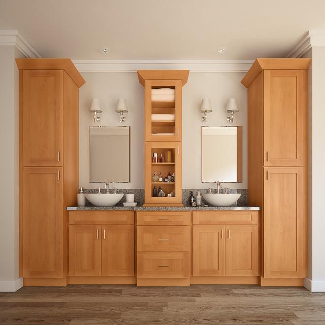 Honey Maple Modular Shaker RTA Wood Bathroom Vanity Cabinet Furniture