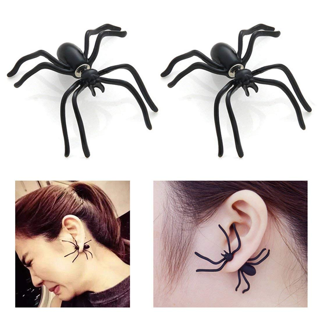 GiftJewelryShop Bronze Retro Style black widow spider Photo Clip On Earrings Flower Earrings #12