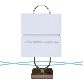 double fabric lamp shade hotel guestroom nightstand lamps with power outlet and switch in the base