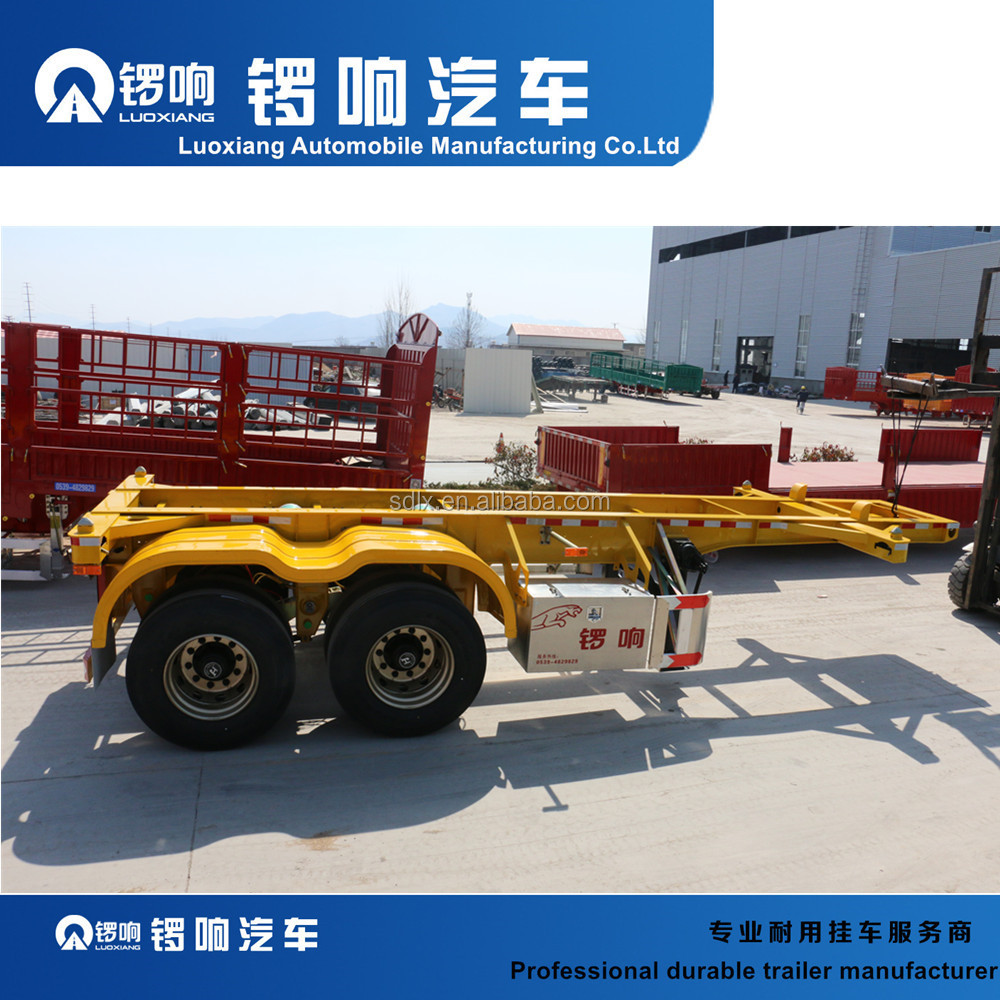Chinese 2 axle skeletal semi trailer 40FT Flatbed Container Semi Trailer