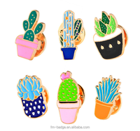 Wholesale Shirt Collar Enamel Brooch various of cactus lapel pin badge, lovely flower soft enamel metal cactus collar lap