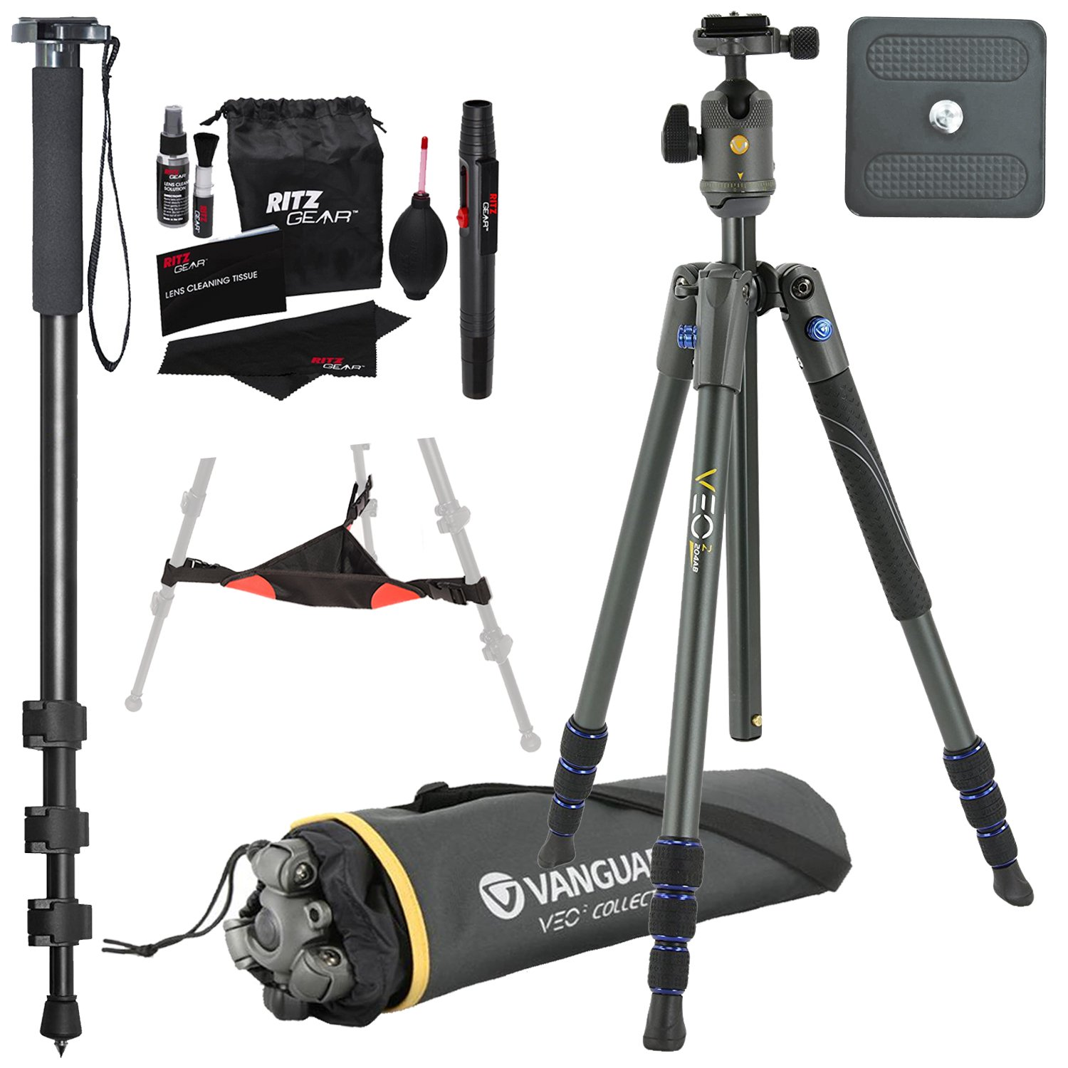 Vanguard VEO 2 204AB Red Aluminum Tripod with VEO 2 BH-45 Ball Head, Ritz Gear Tripod Stone Bag, 72-Inch Monopod with Quick Release and Ritz Gear Cleaning Kit