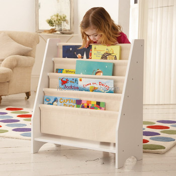 5 Level Tier Wooden Childrens Canvas Book Shelf Display Unit White