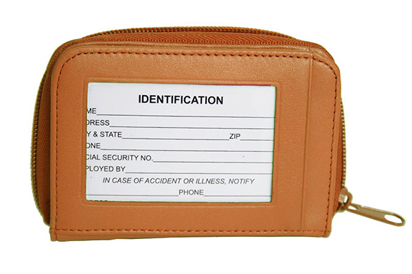 Top grain nappa leather small ID card holder wallet zip