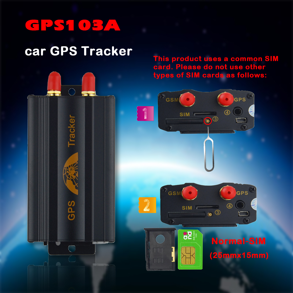 200pcs GPS103A Vehicle GPS Tracker TK103A Real-time Tracking Monitoring Locator Car Tracker Device SOS Geo-fence Locator
