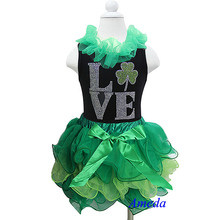 St Patricks Day Green Petal Tutu Plus Rhinestone LOVE Leaf Black Tank Top 1-7Y