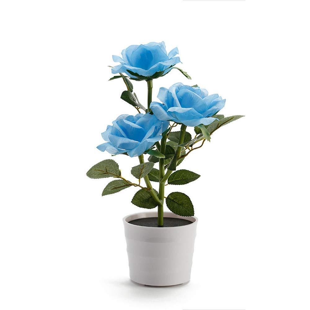 Solar Rose Flower Lights,Quaanti LED Light Artificial Rose Pot with 3 Lights Flower Bonsai LED Light Lamp for Home Garden Room (Blue)