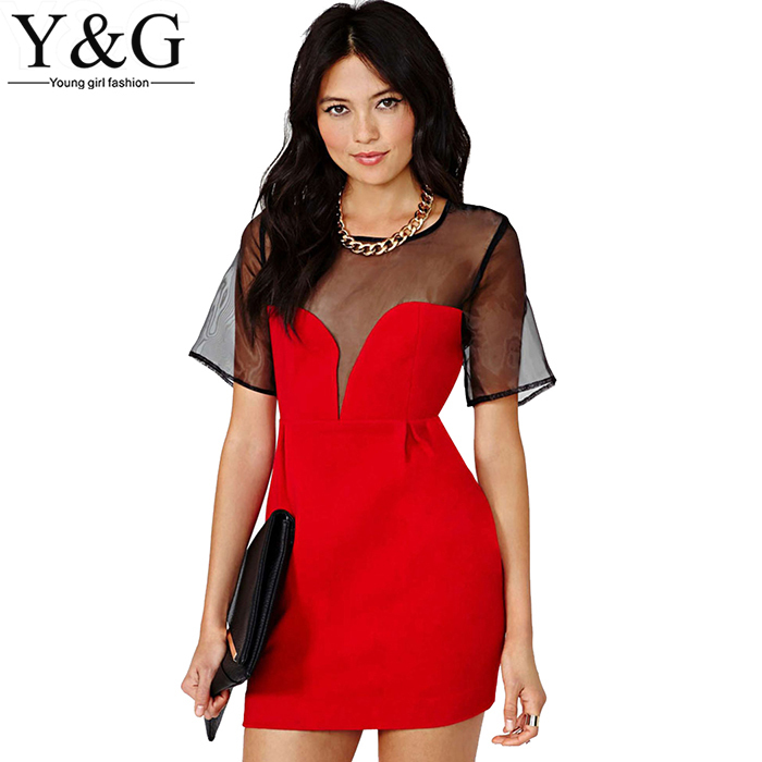 c84756ed3a Get Quotations · Y&G new 2015 vintage women clothes red sexy mesh women  party dress casual summer style vestidos