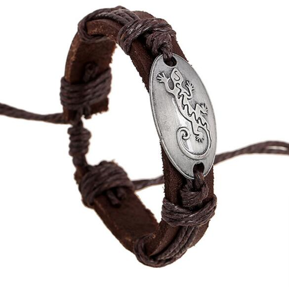PK069 Huilin Jewelry Stylish gecko Shape Handmade Leather Alloy Wristband Bracelets Womens Leather Jewelry