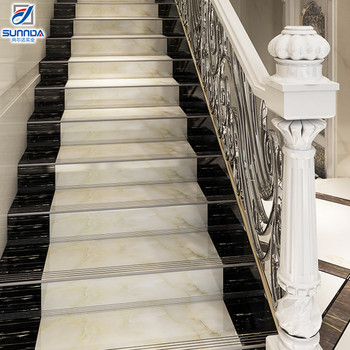 Non Slip Contemporary Indoor Porcelain Staircase Step Tile Commercial Decorative Stair Treads And Risers Ceramic