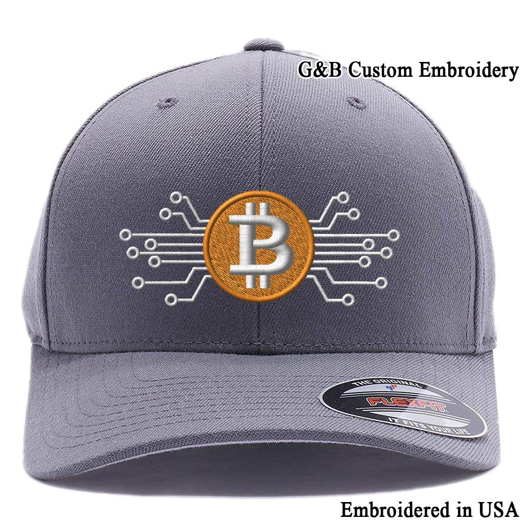Bitcoin Digital Currency. Embroidered. 6477 Flexfit Baseball Cap. e5d650607f90