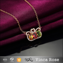 Imperial crown pendant in various color,necklace set jewelry gold plated natural stone pendant