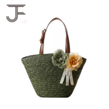 Fashionable manual customization mini knitted straw tote bag