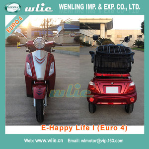 Factory Supply electric scooter silicone shanghai razor 800W 3 wheel with Euro 4 EEC COC (E-Happy Life I)