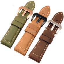 Handmade Crazy Horse/Cow Leather Watch Straps 22 24 26mm Genuine Leather Watch Band For Panera PAM111