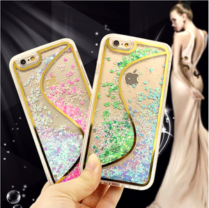 Electroplating S pattern TPU liquid Glitter PC back cover case For iPhone 6