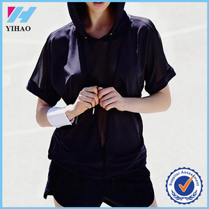 Yihao New Fashion 88% Promodal 12% Lycra Women Plain Black T-shirts with Hood Custom Sporty Hooded Tee Shirt
