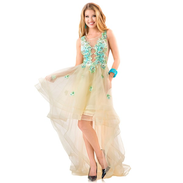 ce7f5ab99 التجارة appliqued الحفلة فستان قصير طويل الذيل فساتين السهرة 2016 مثير