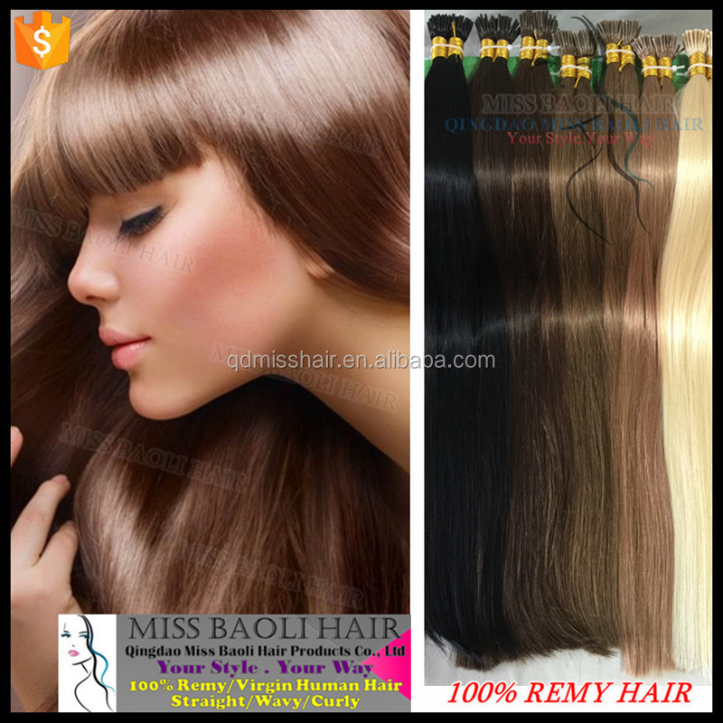 Wholesale Factory Price 2017 Best Selling I Tip 100% Virgin Indian Remy Hair Extensions
