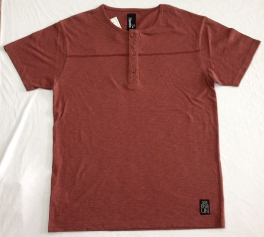 custom style red color men's t-shirt with button warp