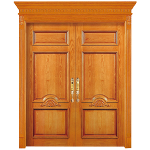 Factory Price Classic Models Front Main Entrance Solid Teak Wood Double Door Design