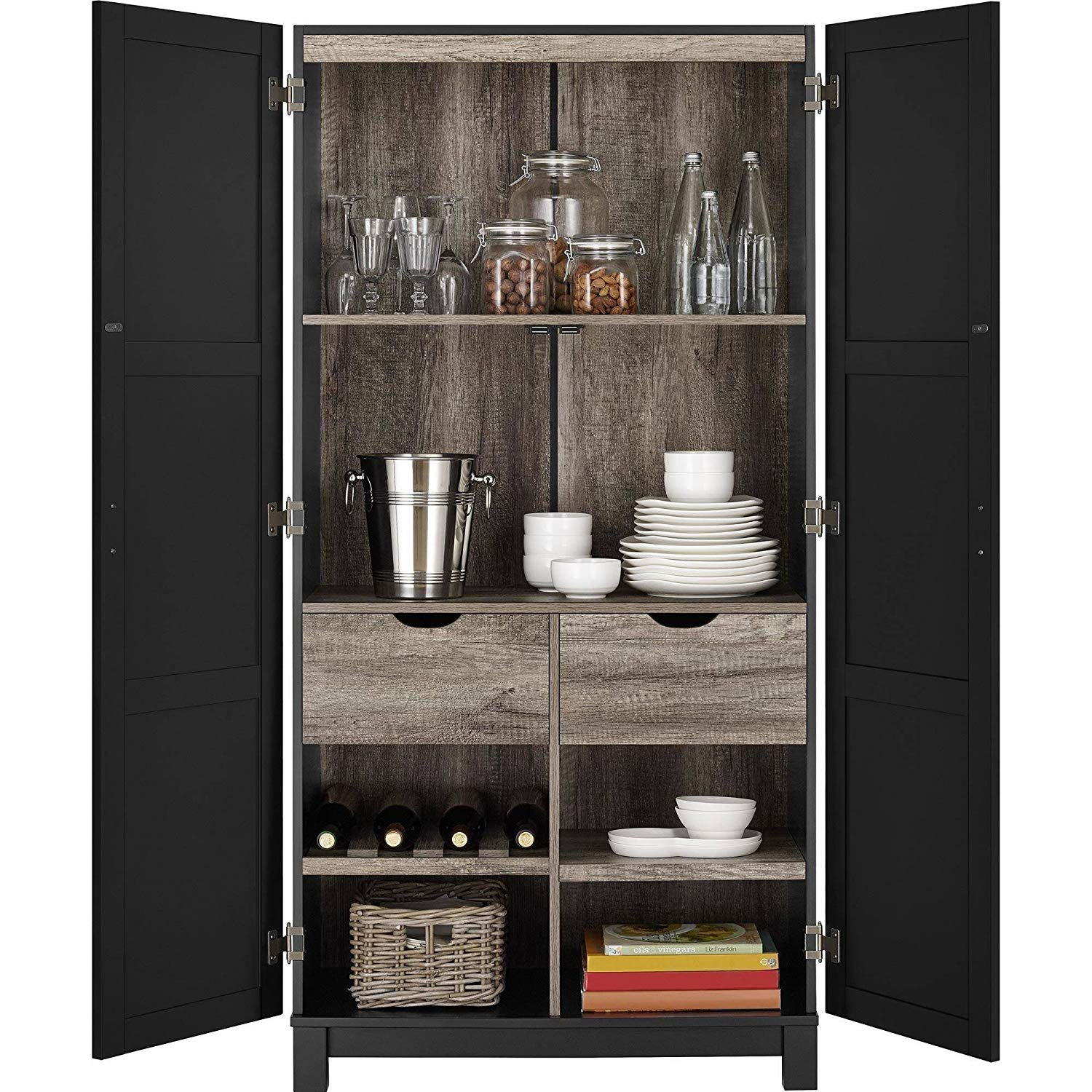 Get Quotations Beautiful Storage Cabinet Kitchen Pantry 2 Large And Small Fixed Shelves