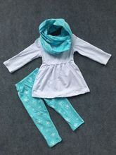 3 pieces scarf hot white and blue top kids outfits tribal snowflake pant new design hot sell boutique clothes sets