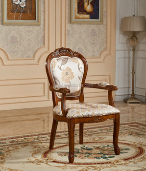 Genial Europe Style Leisure Hand Carved Solid Wood Dining Antique Wooden Chairs  With Arms