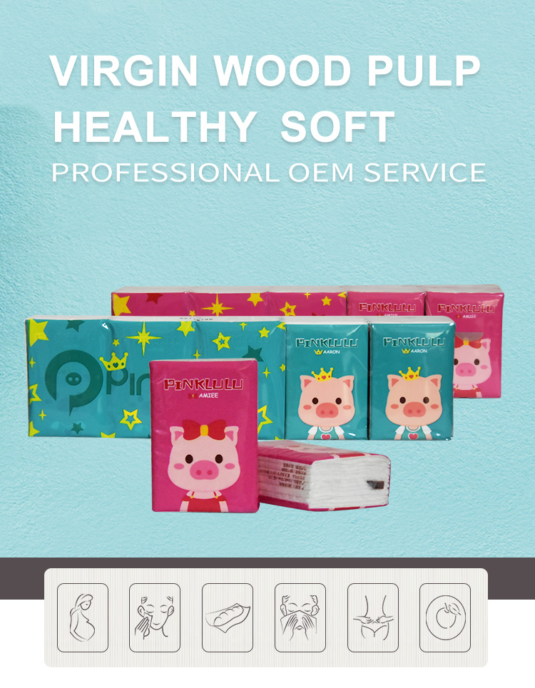 Wholesale cheap custom printed 3-Ply Pocket Packs Facial Tissues