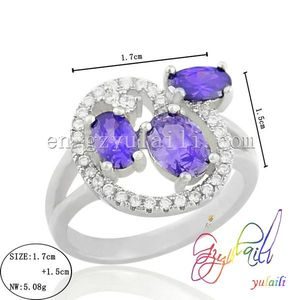 Hot elegant colour purple zircon bride wedding jewelry ring 925 silver jewelry ring