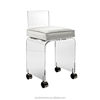 Small Acrylic Lucite Perspex Vanity Stool With Wheels And Cushion Rolling Stools White