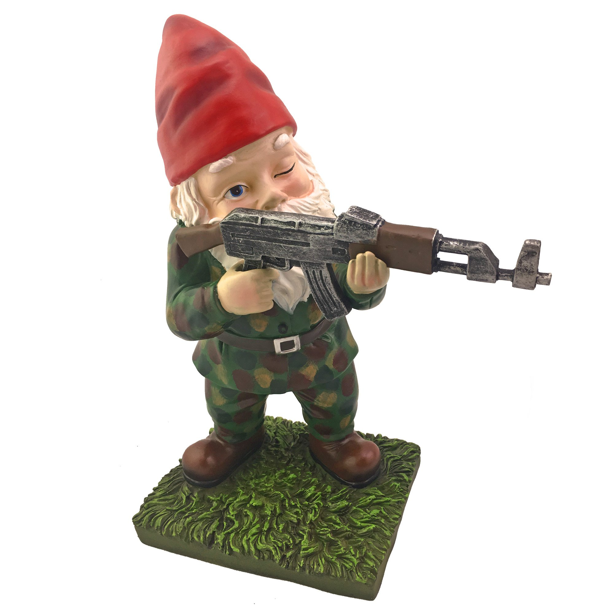 Military Garden Gnome With An AK47 | Funny Army Statue, Perfect For Gun Lovers, Military Collectors, Combat Enthusiasts & Army Men | Indoor & Outdoor Lawn Yard Decor (Standing, Traditional)
