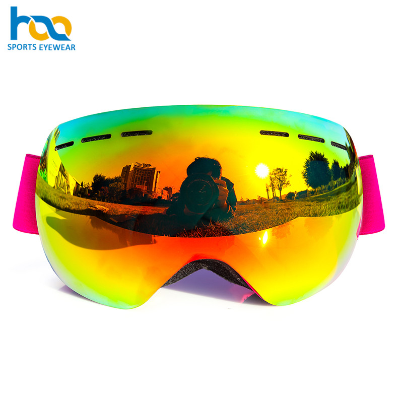Guangzhou factory Anti-UV Prevent snow blindness Colorful lens snowboard photochromic ski goggles with video camera