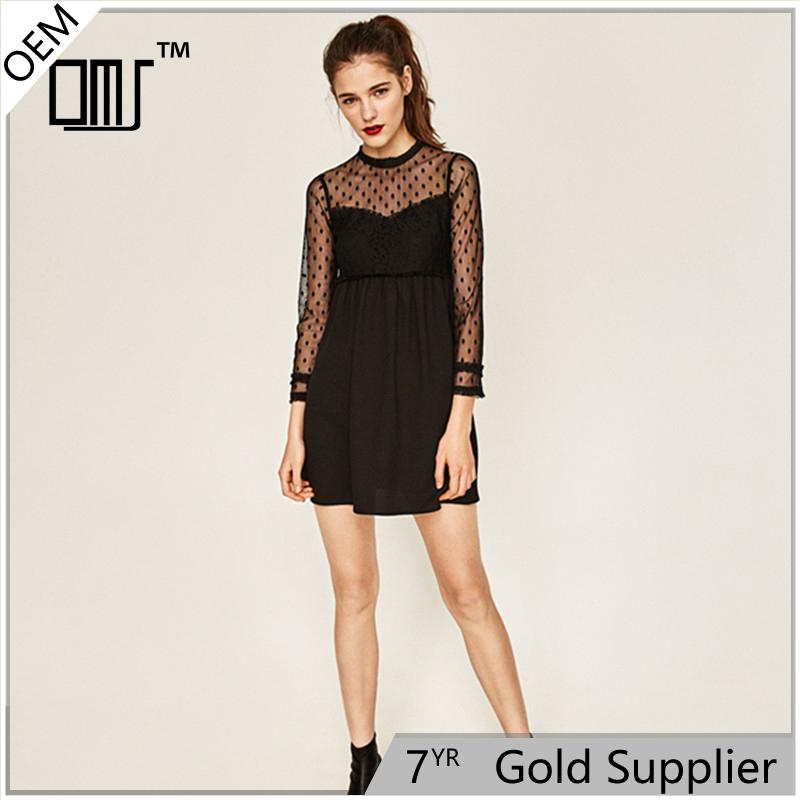 2183b0cd1 2017 OEM nuevo diseño Chic contraste tela negro vestido con encaje