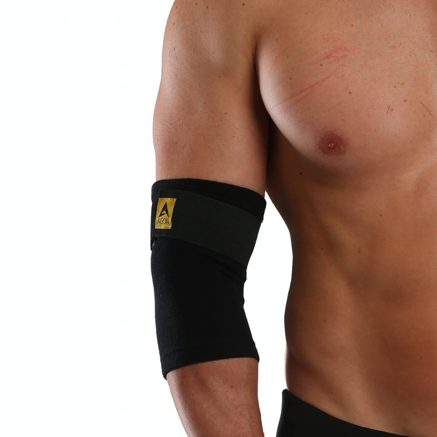8c3241d8ce Get Quotations · Agon Elbow Brace Compression Sleeve - Elastic Support for  Tendonitis Pain, Tennis Elbow, Golfer's
