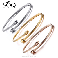 Classic Bracelet Stainless Steel Bangle Silver/Gold Plated Wire Wave Charm Bracelet for Women Men