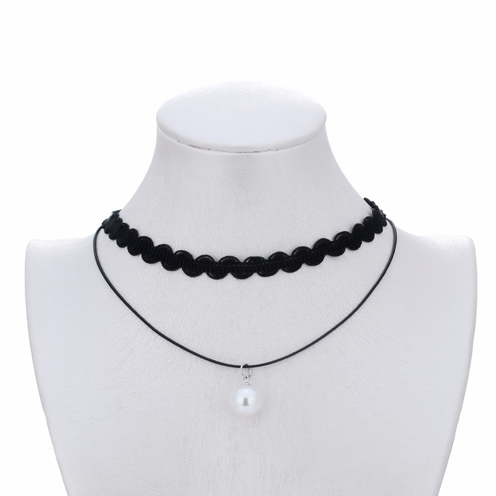 Black Double Layer Choker Necklace For Women Fashion Jewelry Lace Pendant Chain Pearl Necklace Best Gift Bijoux