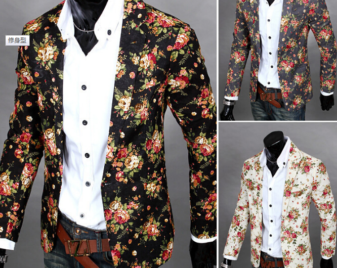 S12351A hot sale man suit,fashion slim fit men's casual suits printed floral fashion suits