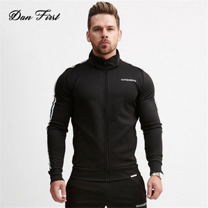 2018 New Fitness Muscle Sleeve Men's Coat Pull Print Slim Sweater Training Sports Stand Collar Jacket Male