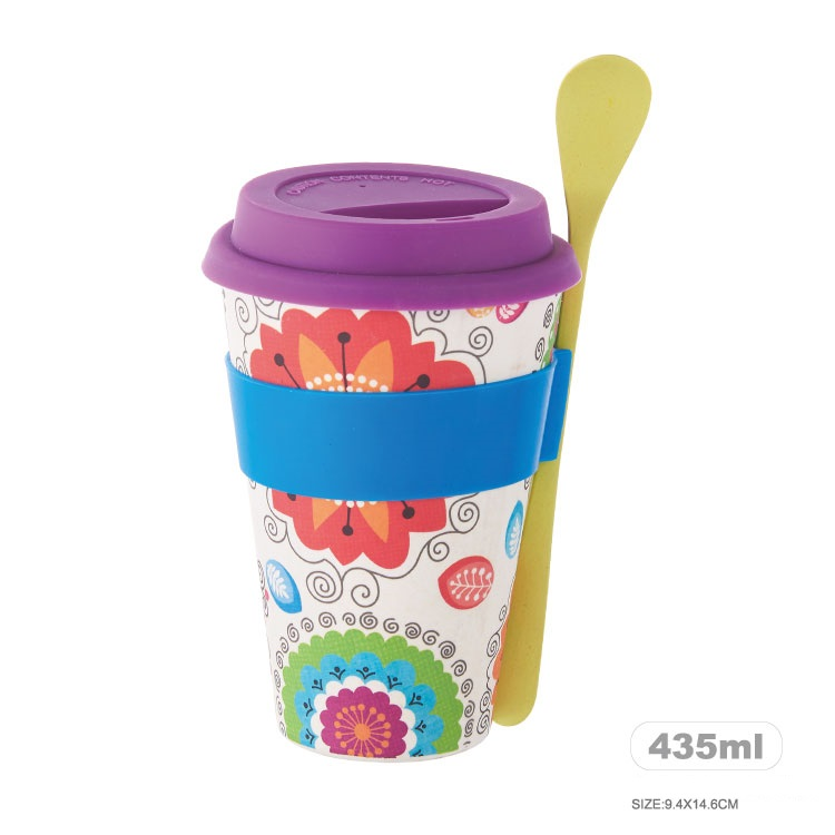 14oz/435ml customization size logo accessories bamboo fiber cup with mug sleeve lid