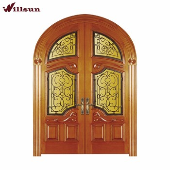 New Design Wrought Iron Decoration Stained Glass Front Door Double